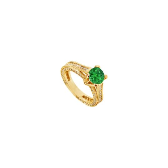 Preload https://img-static.tradesy.com/item/24328279/green-created-emerald-and-cubic-zirconia-engagement-14k-yellow-gold-25-ring-0-0-540-540.jpg