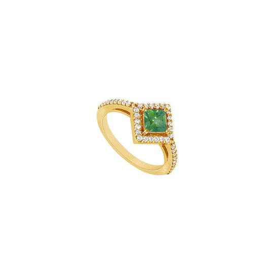 Preload https://img-static.tradesy.com/item/24328295/green-created-emerald-and-cubic-zirconia-engagement-14k-yellow-gold-10-ring-0-0-540-540.jpg