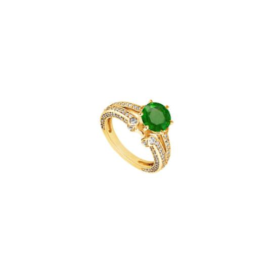 DesignerByVeronica Created Emerald and Cubic Zirconia Engagement Ring 14K Yellow Gold 1.7