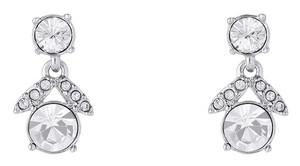 Givenchy Rhodium-Tone Crystal Post Drop Earrings