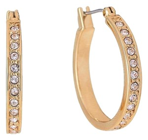 Givenchy Gold-Tone Pave Hoop Earrings