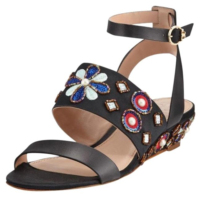 Tory Burch Black New Estella Leather Embellished Ladies Sandals - Leather - Wedges Size US 6.5 Regular (M, B) Tory Burch Black New Estella Leather Embellished Ladies Sandals - Leather - Wedges Size US 6.5 Regular (M, B) Image 1