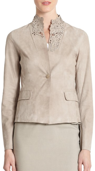 Item - Beige Women's Natural Marielle Eyelet Detail Suede New S Jacket Size 4 (S)