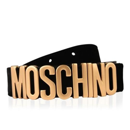 Moschino logo velvet leather belt size 85
