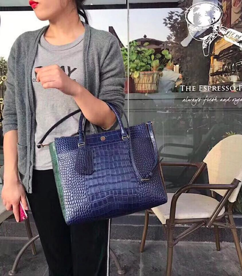 2f90d512b65 Tory Burch New Croc Shoulder Handle Purse Navy Multiblue Leather ...