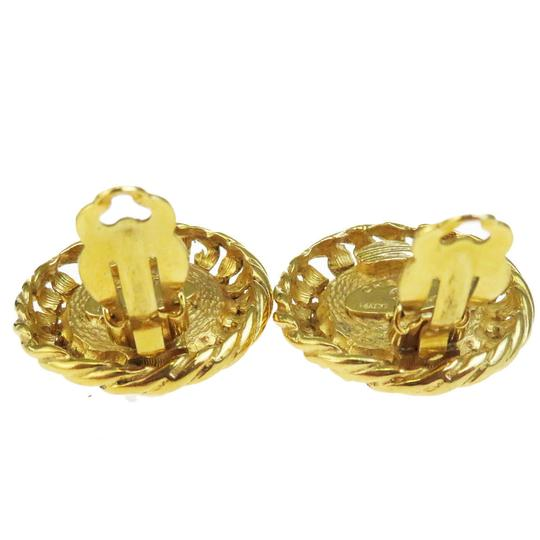 Chanel CHANEL Flower Earrings Imitation Pearl Clip-On Gold Accessory