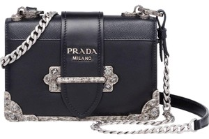 Prada Leather Chain Silver Hardware Shoulder Bag