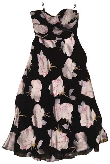Nicole Miller Black/Gray and White Silk/Rayon Mid-length Formal Dress Size 4 (S) Nicole Miller Black/Gray and White Silk/Rayon Mid-length Formal Dress Size 4 (S) Image 1