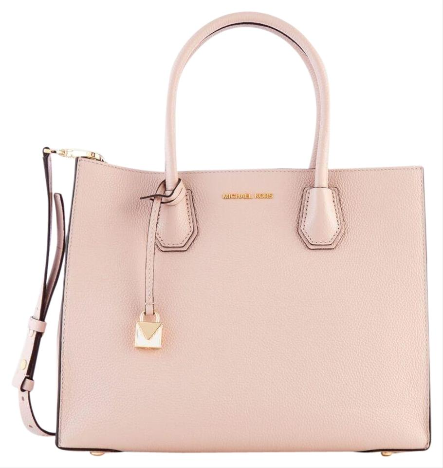 7fe2243be5acb Michael Kors Studio Mercer Large Soft Pink Gold Leather Tote - Tradesy