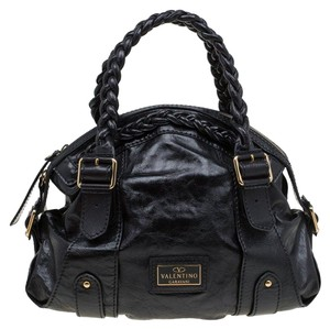 Valentino Leather Gold Accents Top Zip Satchel in Black