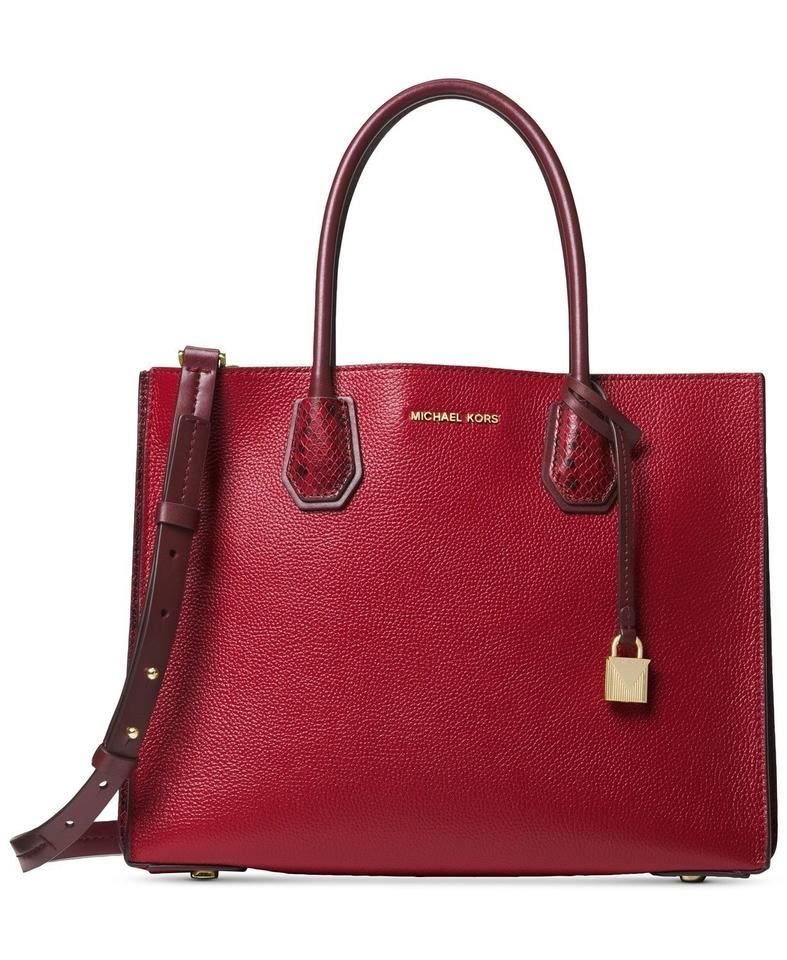 626893c33a62be Michael Kors Mercer Python-embossed Accordion Maroon/Oxblood Red Leather  Tote
