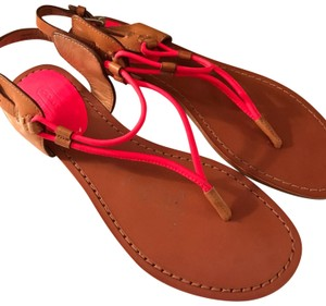 Coach neon pink and tan Sandals