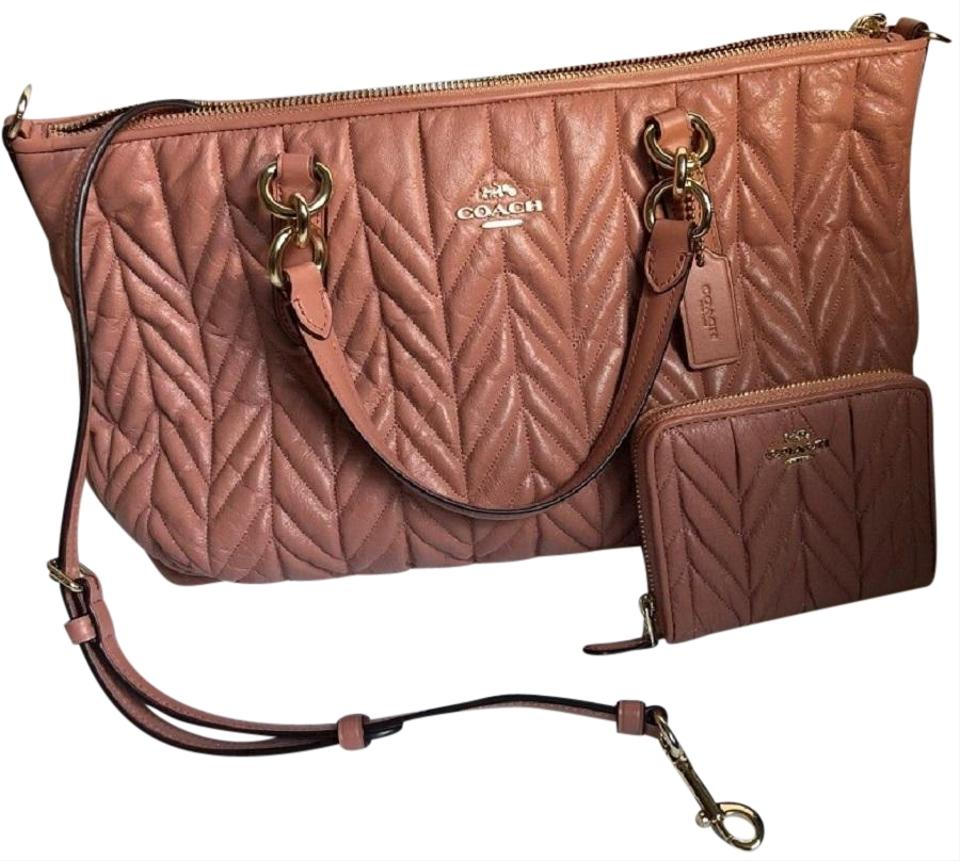 a59dfd6fe789 Coach Quilted Leather Peach Wallet Set Satchel in and Image 0 ...