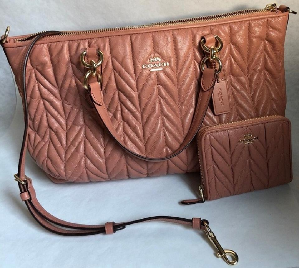 8dac69710737 Coach Quilted Leather Peach Wallet Set Satchel in and Image 7. 12345678