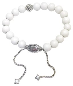 "David Yurman GORGEOUS!!! David Yurman Silver Accent Bead and White Agate Spiritual Beads Bracelet 8mm Silver Accent Bead 8mm White Agate Beads 5.8""-9.8"" adjustable 100% Authentic Guaranteed!! Comes with Original David Yurman Pouch!!!"