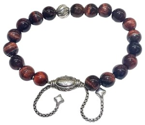 "David Yurman GORGEOUS!!! David Yurman Silver Accent Bead and Red Tiger's Eye Spiritual Beads Bracelet 8mm Silver Accent Bead 8mm Red Tiger's Eye Beads 5.8""-9.8"" adjustable 100% Authentic Guaranteed!! Comes with Original David Yurman Pouch!!!"