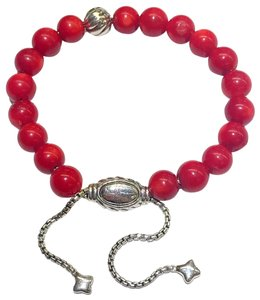 "David Yurman GORGEOUS!!! David Yurman Silver Accent Bead and Red Coral Spiritual Beads Bracelet 8mm Silver Accent Bead 8mm Red Coral Beads 5.8""-9.8"" adjustable 100% Authentic Guaranteed!! Comes with Original David Yurman Pouch!!!"