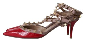 Valentino Studded Rock Stud Stud Red Pumps