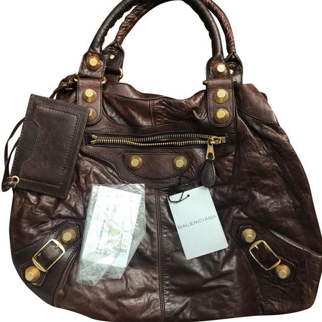 Balenciaga Giant Brief Chocolate Brown Leather Hobo Bag Balenciaga Giant Brief Chocolate Brown Leather Hobo Bag Image 1