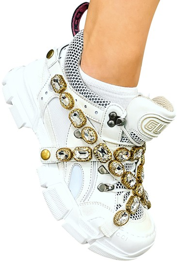 e45aa3d05f3e Gucci White Flashtrek Leather Embellished Crystal Removable Sneakers ...