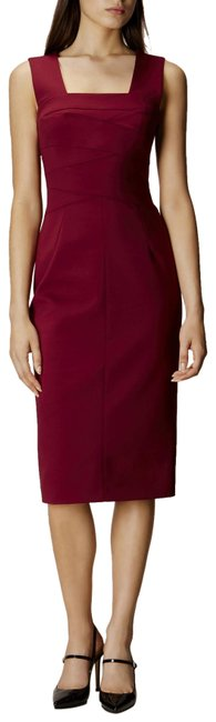 Karen Millen Maroon Square Neckline Pencil Mid-length Formal Dress Size 4 (S) Karen Millen Maroon Square Neckline Pencil Mid-length Formal Dress Size 4 (S) Image 1