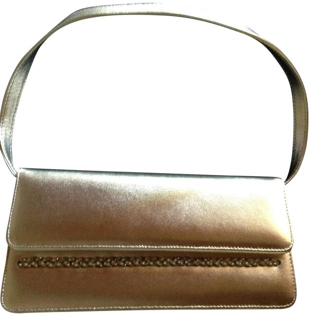 Item - Leather/Crystal Gold Leather Clutch
