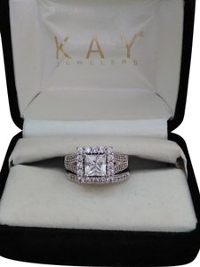 Zales Princess cut and pave briidal set in white sapphires