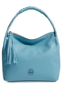 Tory Burch Leather Gold Hardware Tassels Pebbled Braided Hobo Bag