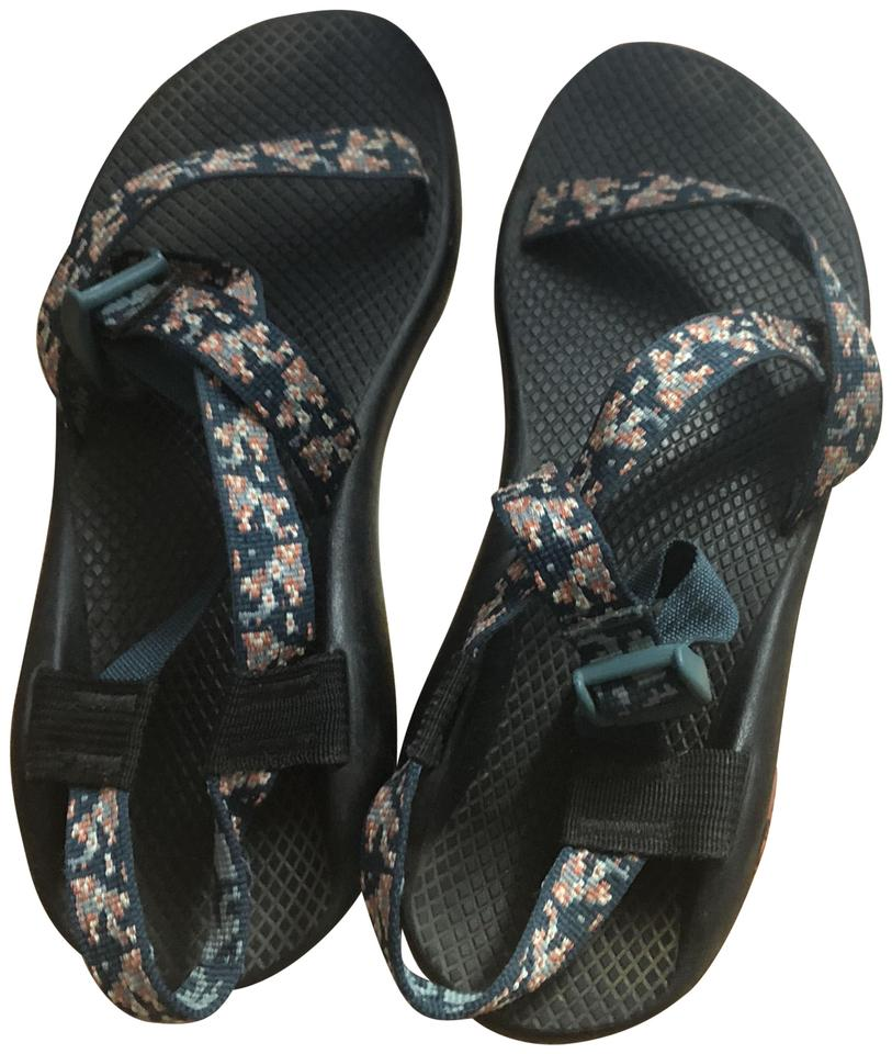 de0e1297206f Chaco Black with Green and Pink Patterned Straps Sandals Size US 9.5 ...