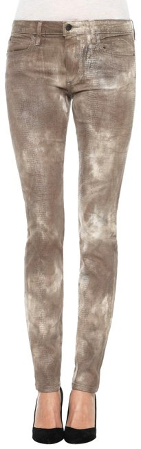 Item - Brown Medium Wash Coated Reptile Flawless Mid Skinny Jeans Size 27 (4, S)