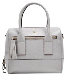 Kate Spade Gold Hardware Leather Adjustable Strap Detachable Strap Satchel in Gray