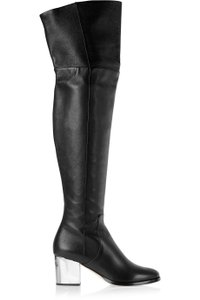 Jimmy Choo Over The Knee Heel Silver Stretch Black Boots