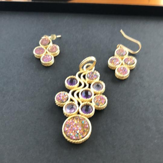 Other 14k druzy and amethyst pendant & 14k druzy earrings Image 4