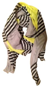 Old Navy Chartreuse, Grey, Black And White Stripes Scarf