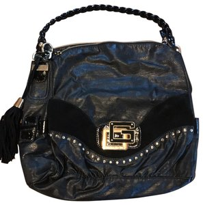 Guess With Braided Strap Black Faux Leather Hobo Bag