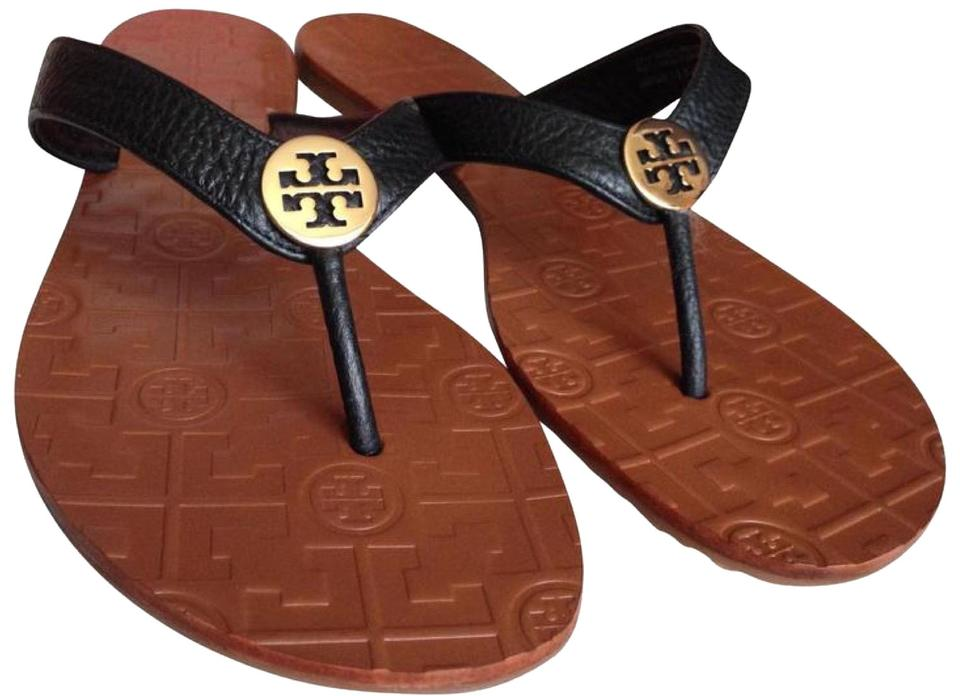 0f75125a3a59 Tory Burch Black Black Gold Thora Thong Leather Sandals. Size  US 9 ...