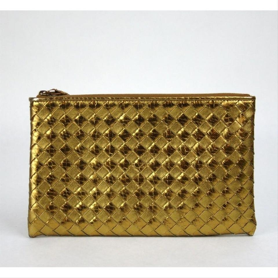 6e8df5d2c2df Bottega Veneta Woven Wristlet Python Leather Gold Leather Clutch ...