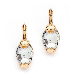 Mariell Clear Crystal Oval Drop Bling Earrings In Gold 4117e-cr-g
