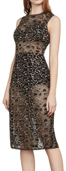 Item - Black Gold Riley Metallic Leopard Lace Mid-length Night Out Dress Size 0 (XS)