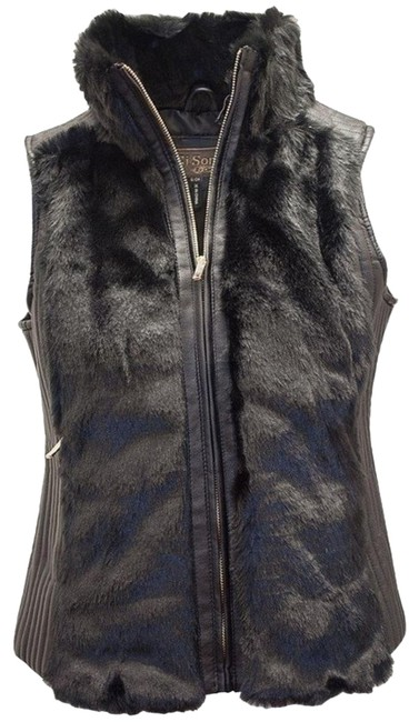 Ci Sono by Cavalini Faux Fur Faux Leather Vest Image 0