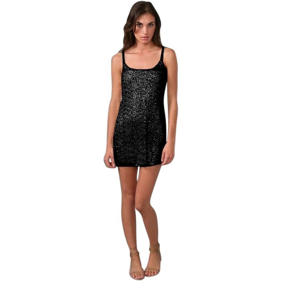 1d2fc424db0 Free People Black Intimately Sequin Slip Short Casual Dress Size 6 ...