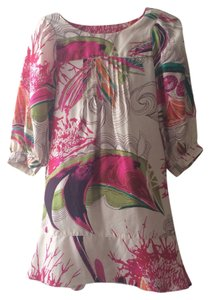 Diane von Furstenberg Silk Graphic Pink Shift Dress