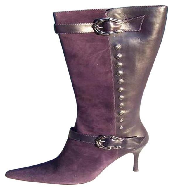 Item - Purple Couture Suede and Leather New Silver Horseshoe Boots/Booties Size US 7 Regular (M, B)