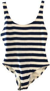 Solid & Striped The Anne Marie Bathing Suit Blue / Cream Terry - Size medium