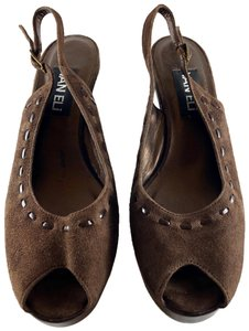 Vaneli Suede Patent Leather Cocoa Brown Wedges