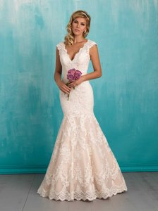 Allure Bridals 9320 Tulle and Satin Formal Wedding Dress Size 8 (M)