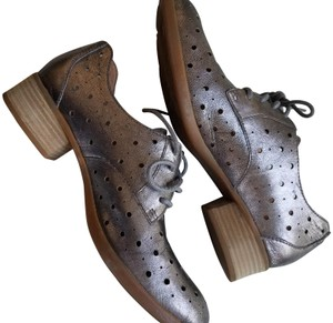 Børn Perforated Oxford Leather Round Lace-up Metallic Flats