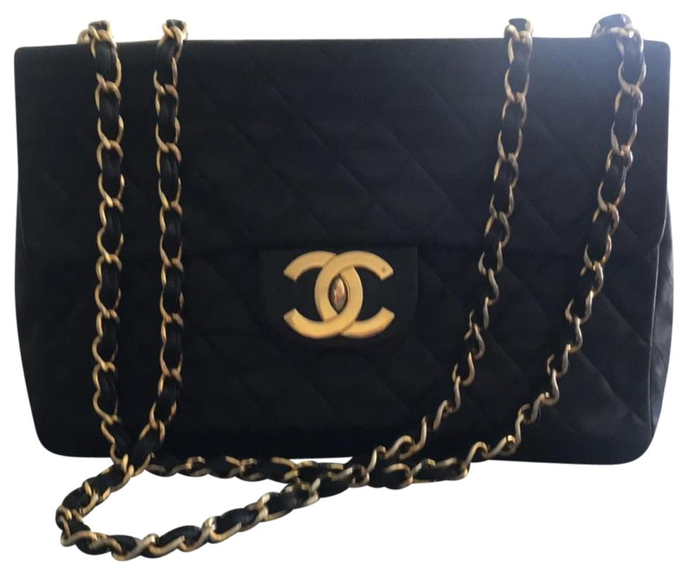 Chanel Classic Flap Jumbo Quilted Single Black Lambskin Leather ... 6db09e040b2b4