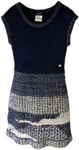 Chanel short dress Navy Blue/White Crochet Knit Fitted A-line Skater on Tradesy
