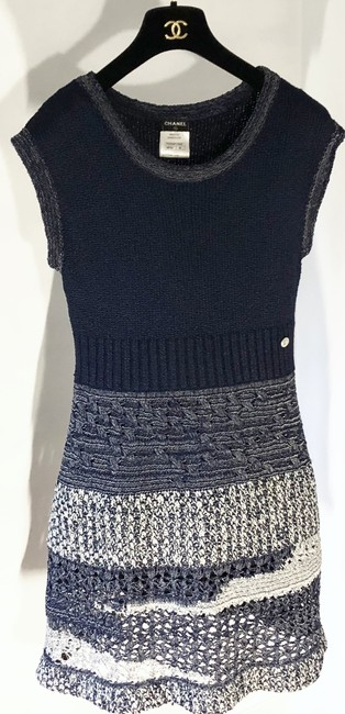 Chanel short dress Navy Blue/White Crochet Knit Fitted A-line Skater on Tradesy Image 1